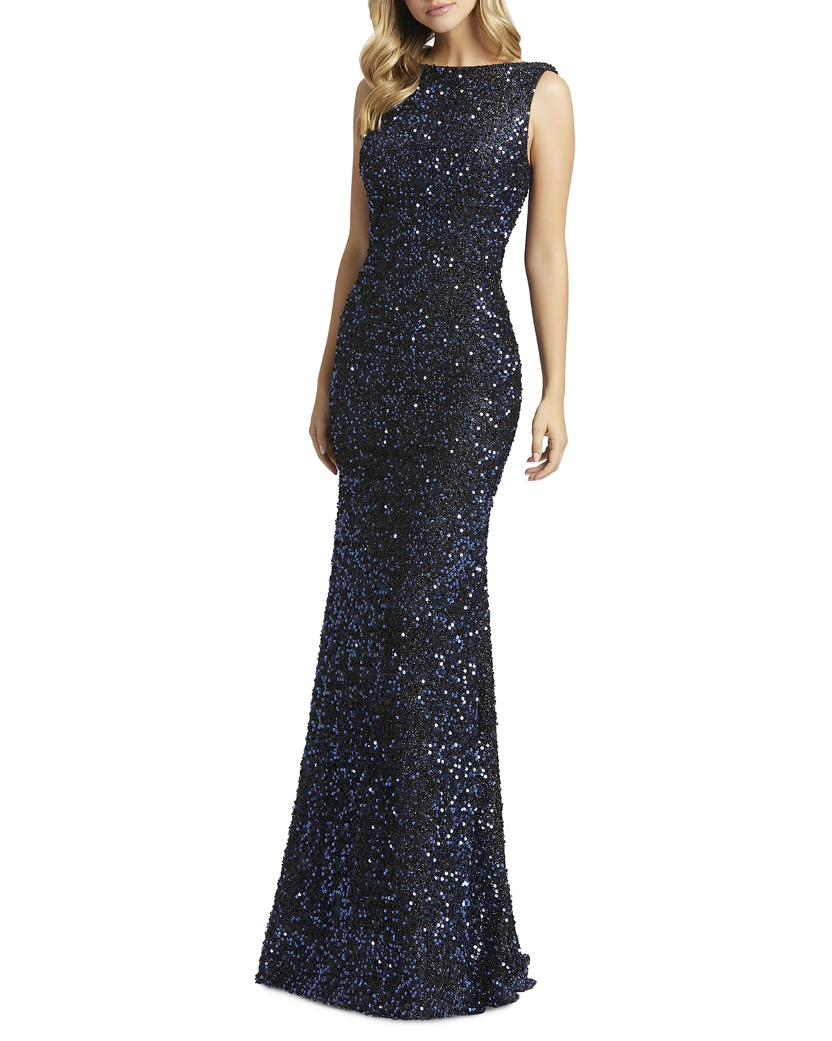 Sequin Cowl-Back Sleeveless Gown