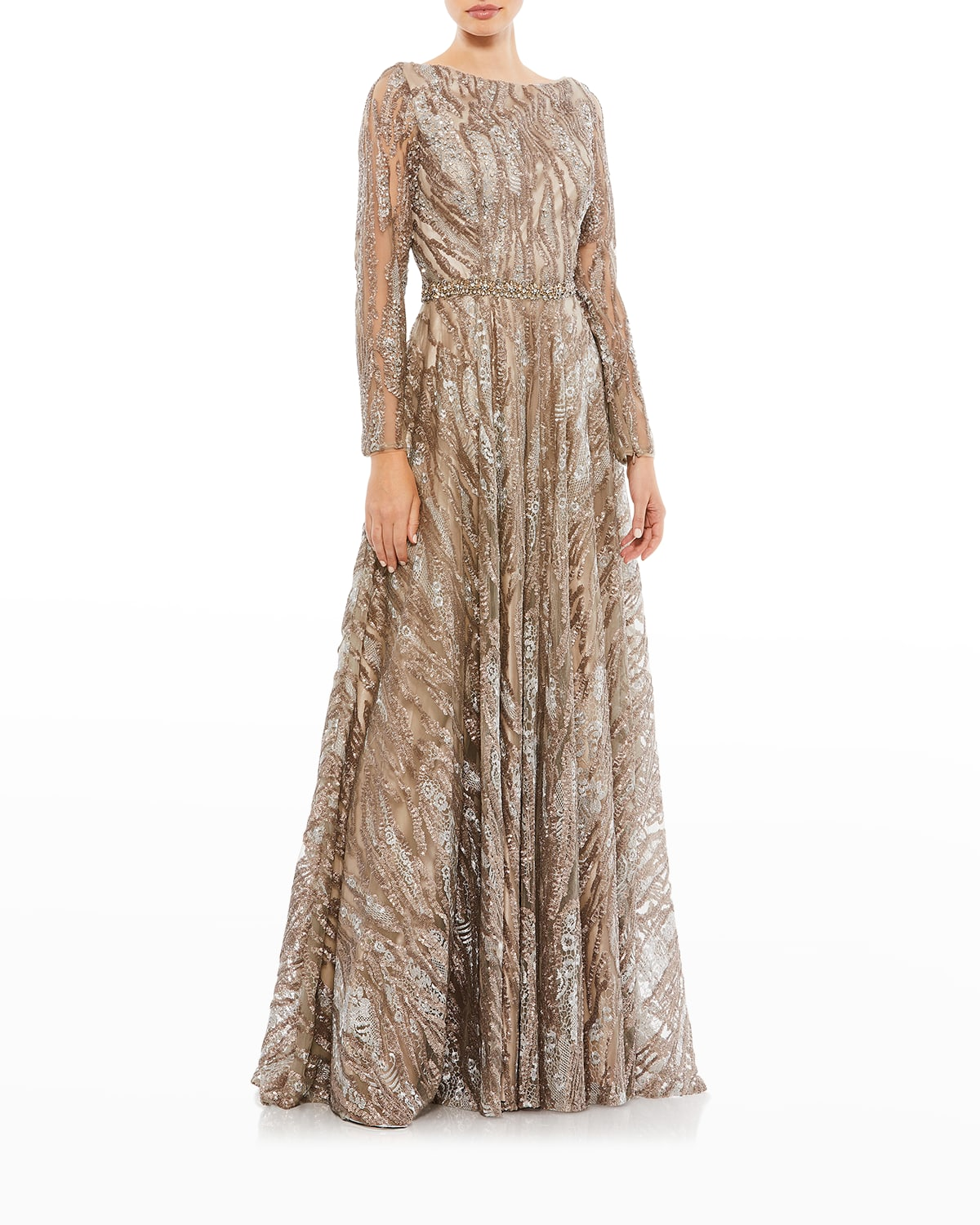 Sequins & Floral Lace Long-Sleeve Novelty Ball Gown