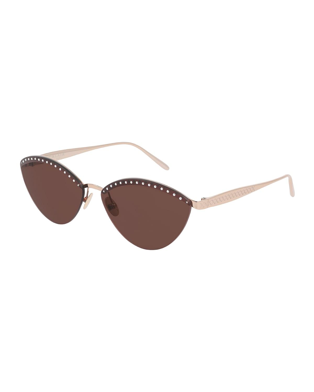Rimless Studded Metal Cat-Eye Sunglasses