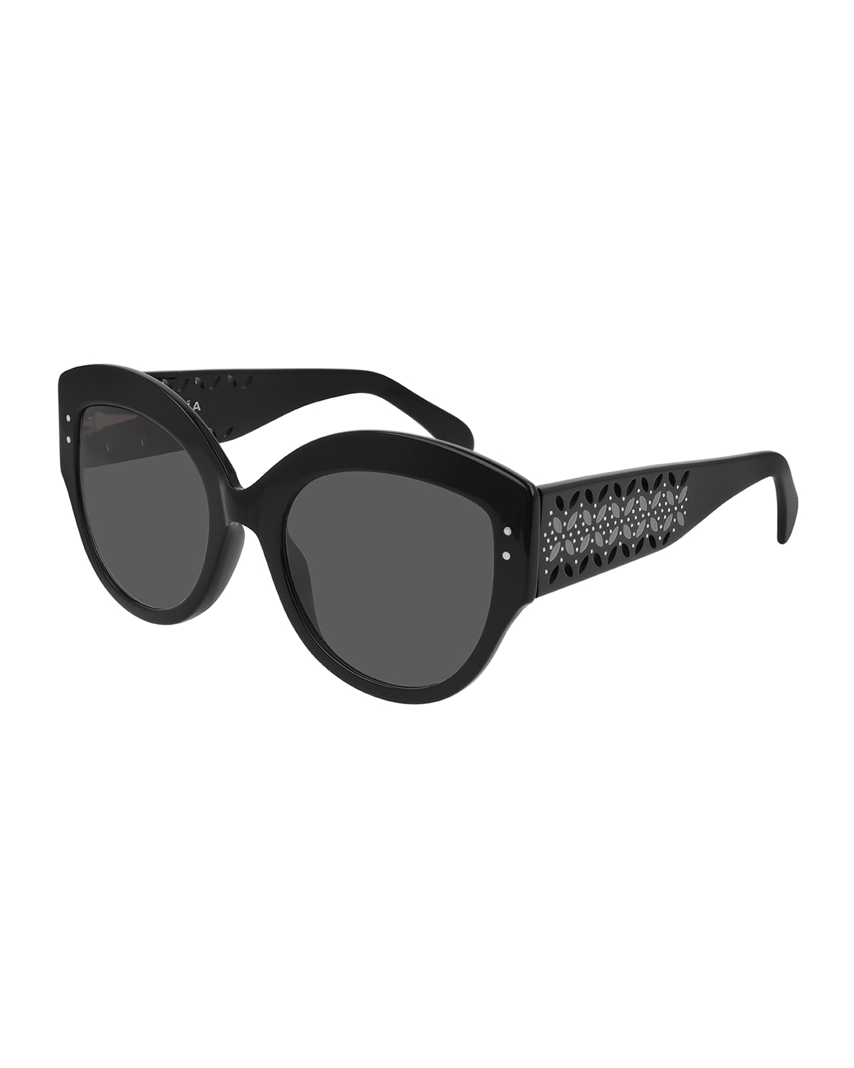 Round Acetate Sunglasses w/ Perforated Arms