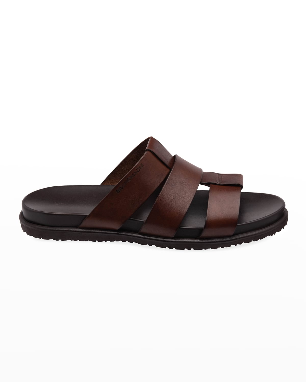 Men's Empoli Three-Strap Leather Slide Sandals