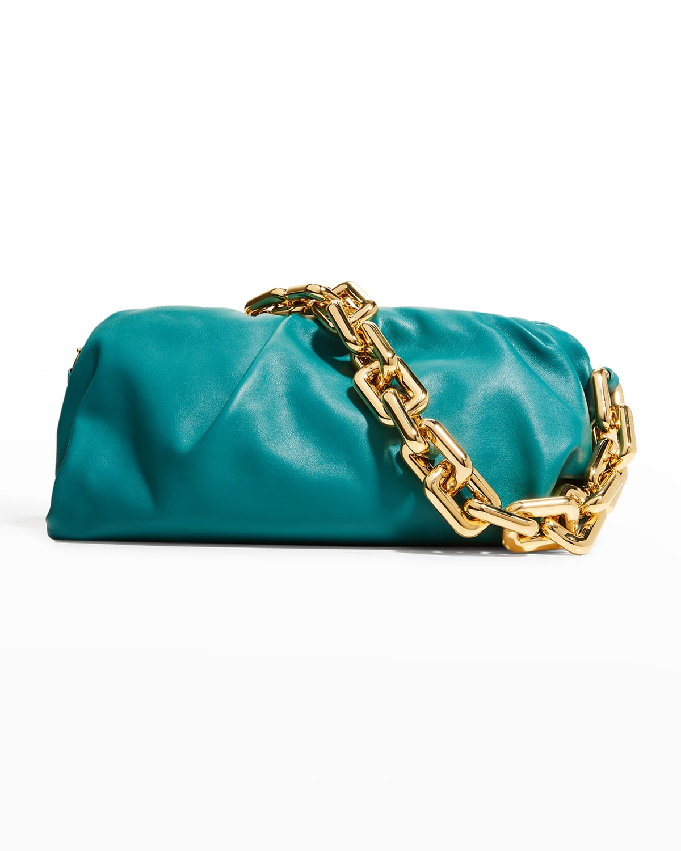 Medium Ruched Napa Chain Pouch Bag