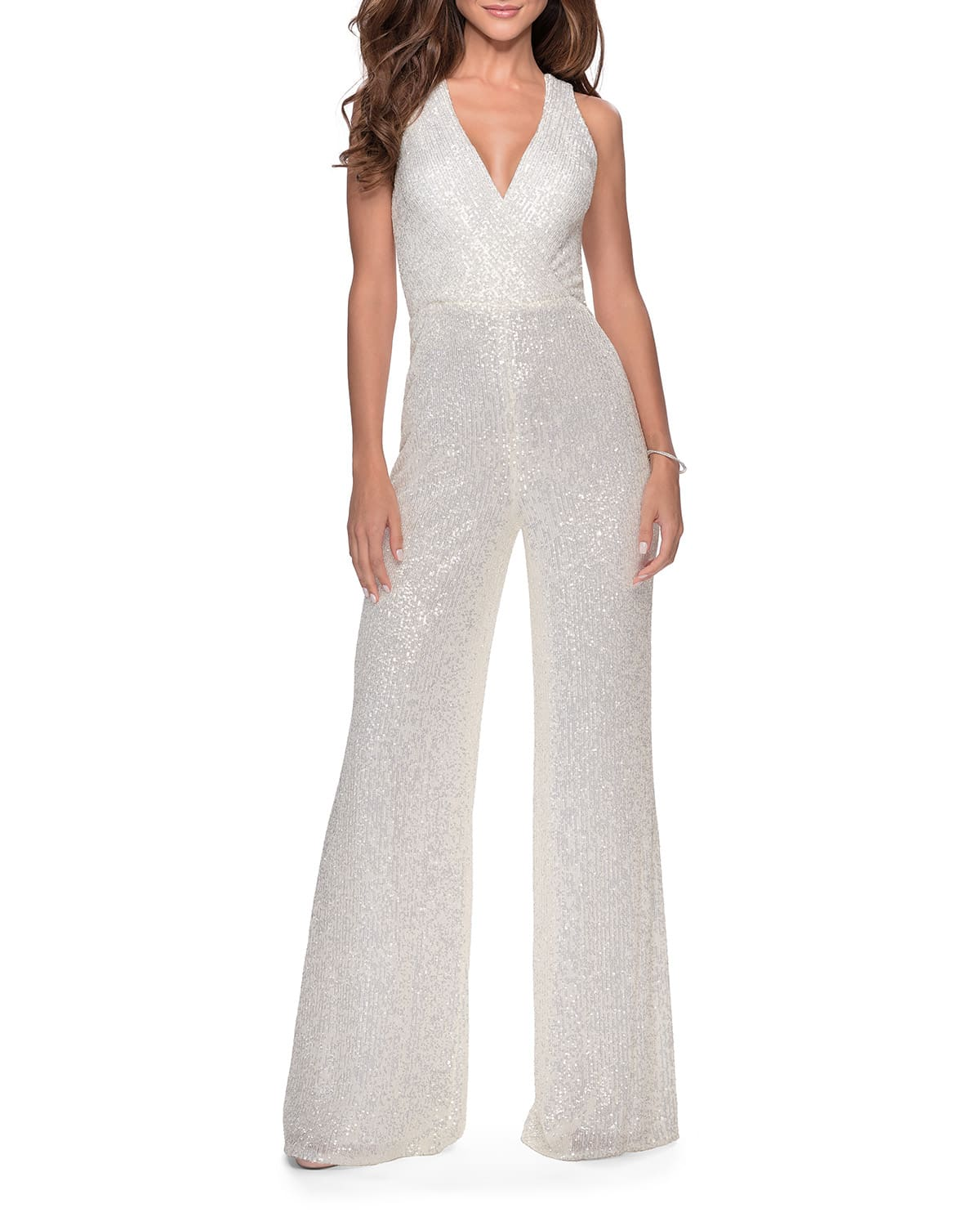 Sequin Pantsuit with Thick Cross-Back Straps