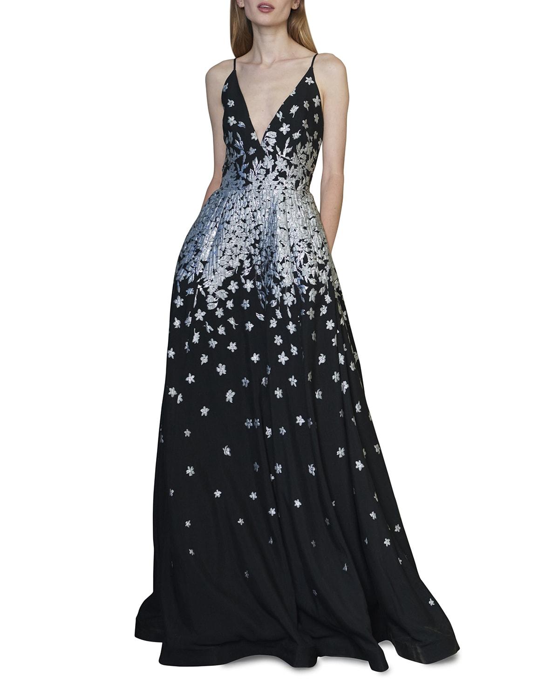 Sleeveless Metallic Jacquard A-Line Gown