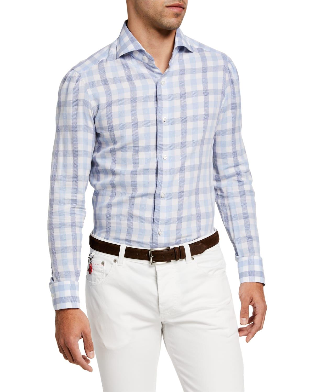 Men's Large Gingham Check Sport Shirt