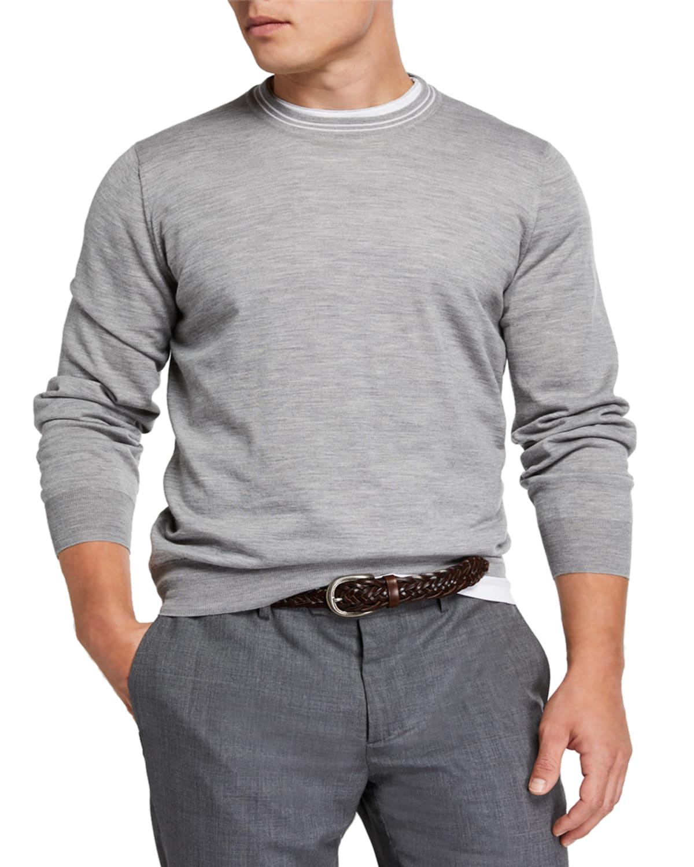 Men's Cashmere Striped-Trim Sweater