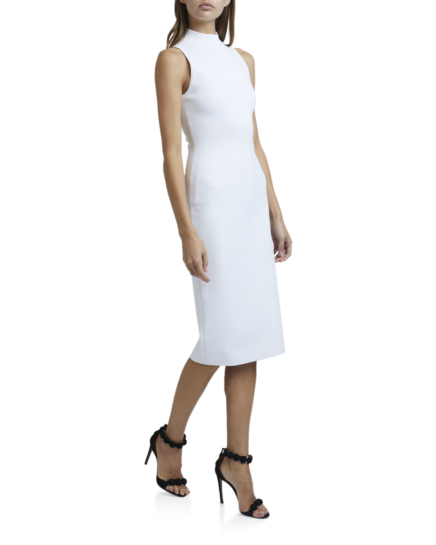 Mock-Neck Sleeveless Bodycon Below-Knee Dress