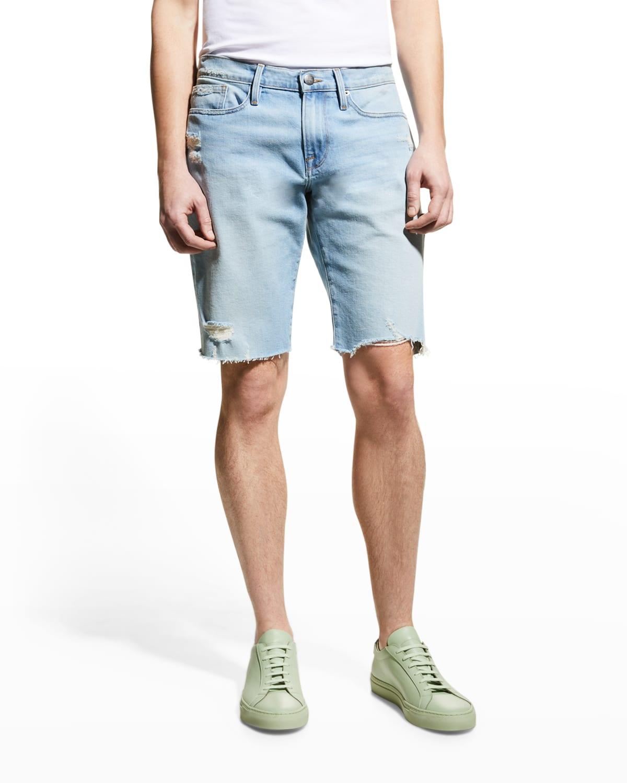 Men's L'Homme Light-Wash Cutoff Shorts