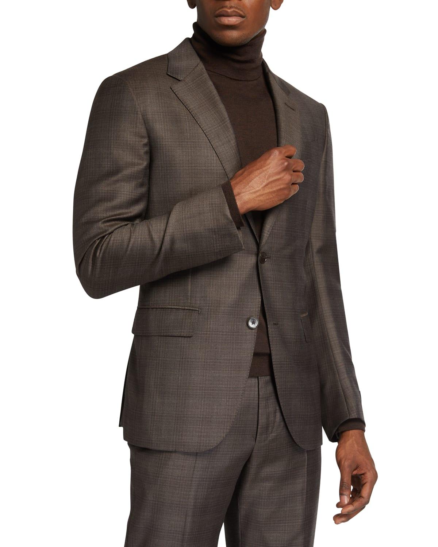 Men's Plaid Wool-Silk Two-Piece Suit