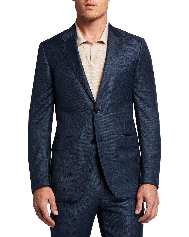 Men's Tonal Plaid Wool-Silk Suit