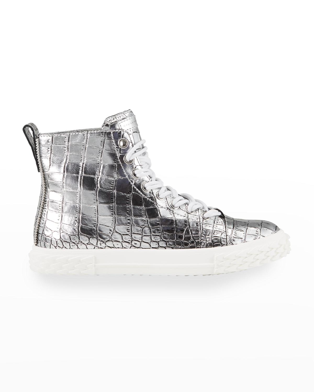 Men's Blabber Metallic Croc-Embossed High-Top Sneakers