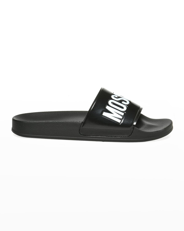 Men's Logo-Embossed Rubber Slide Sandals
