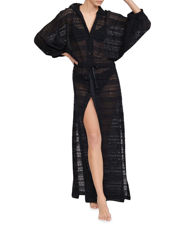 Sirena Lace Drawstring Coverup Shirtdress