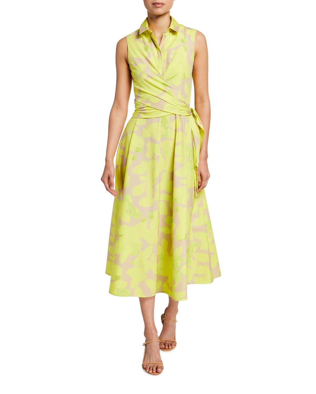 Magnolia-Print Poplin Wrap Dress