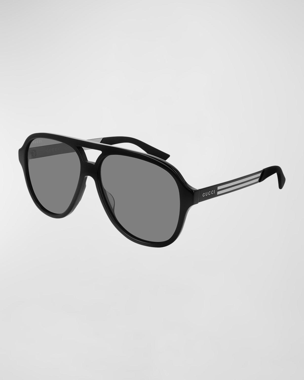 Men's Aviator Logo Sunglasses