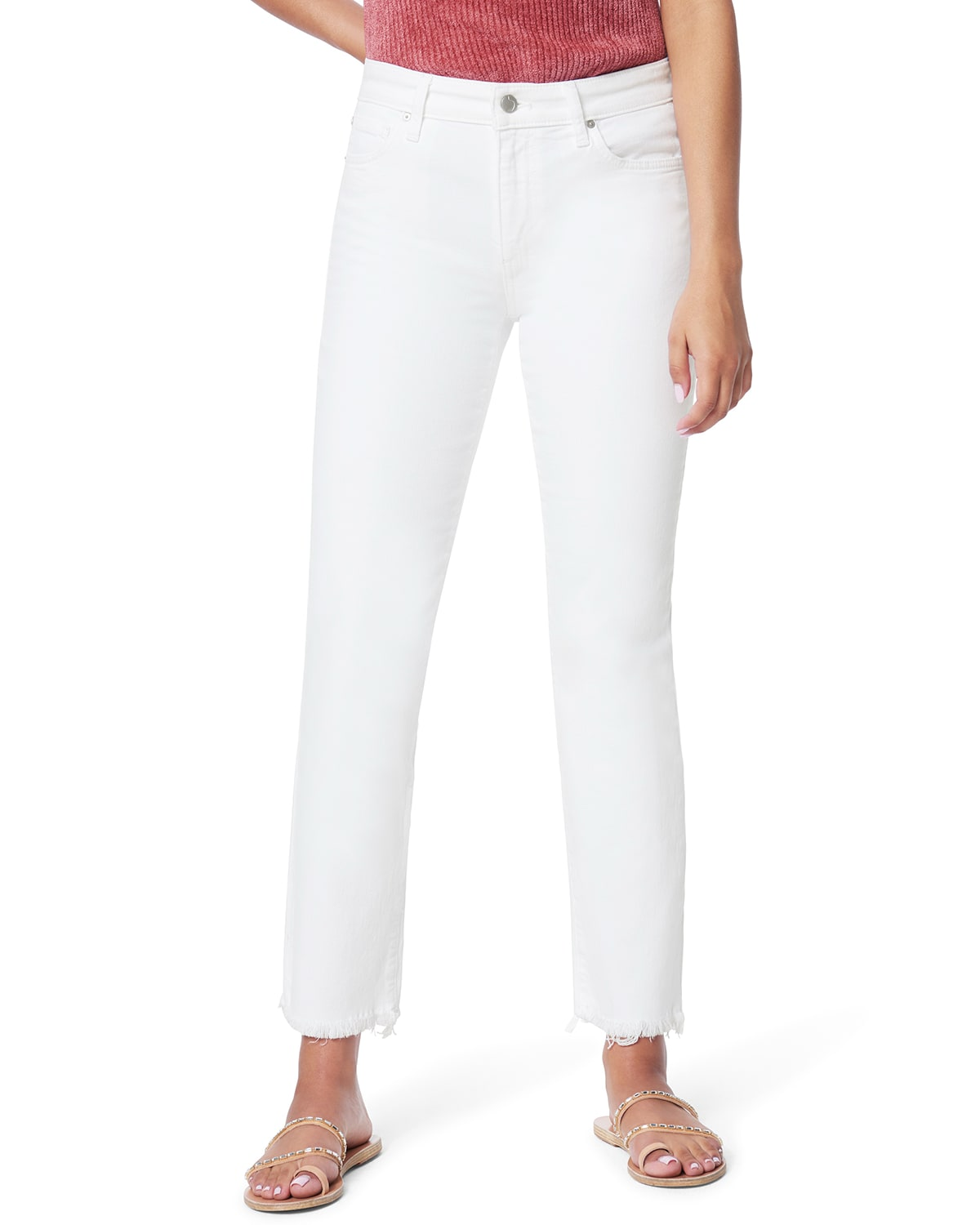 The Lara Mid-Rise Cigarette Ankle Jeans with Cut Hem