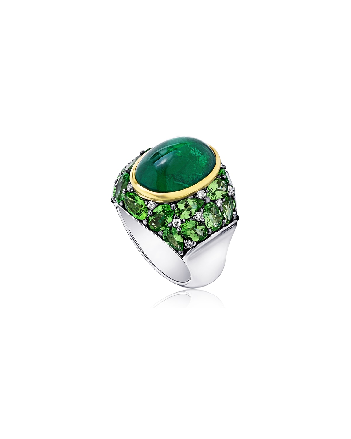 Emerald Oval Ring with Tsavorite and Diamonds, Size 7