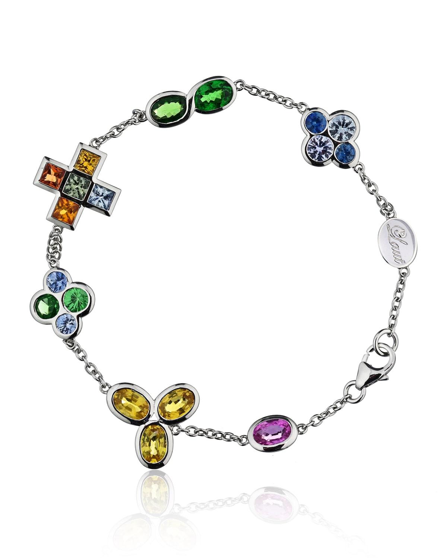 18k White Gold Diamond, Sapphire Mix and Tsavorite Bracelet