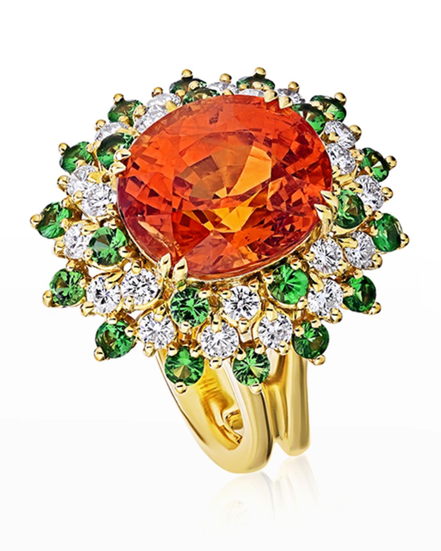 18k Spessatite Cocktail Ring with Diamonds and Tsavorite, Size 6.5