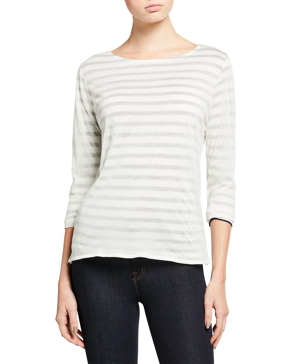 Striped Cotton 3/4-Sleeve Boat-Neck Tee