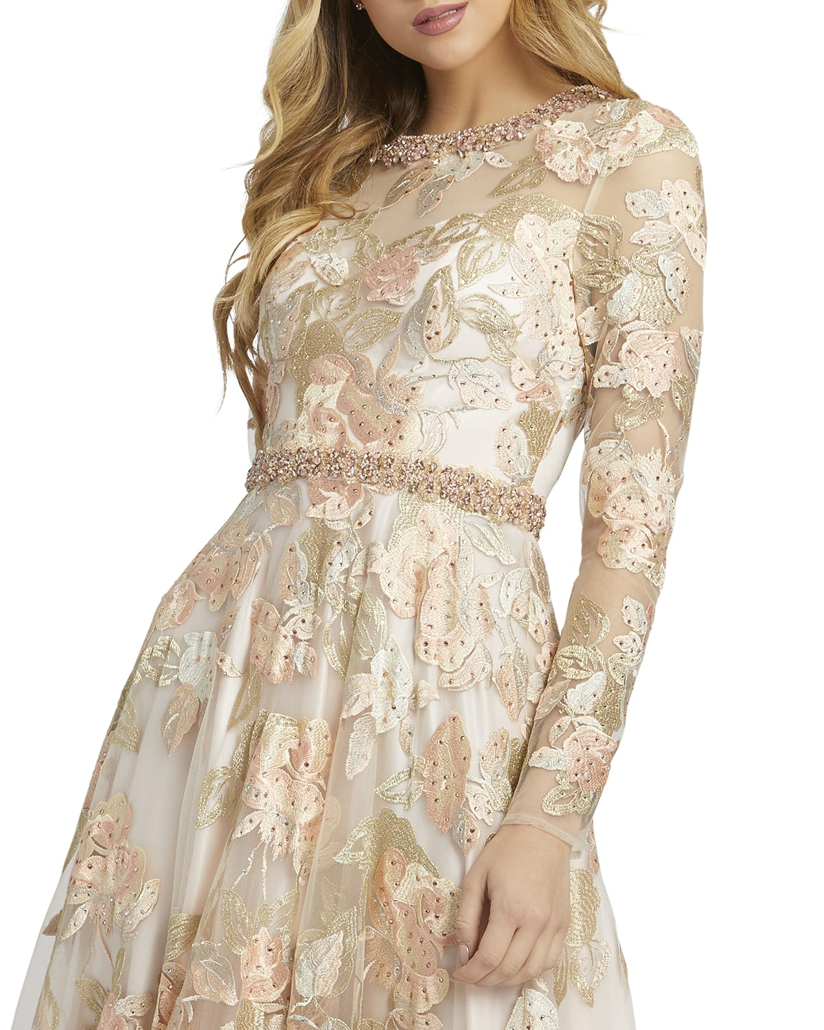 Floral Embroidered Long-Sleeve A-Line Gown