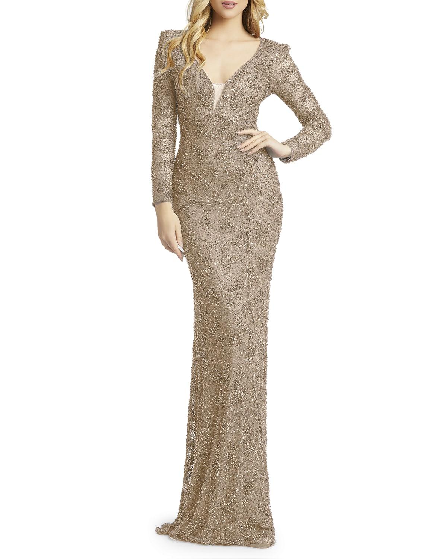 Long-Sleeve Beaded Sheath Gown