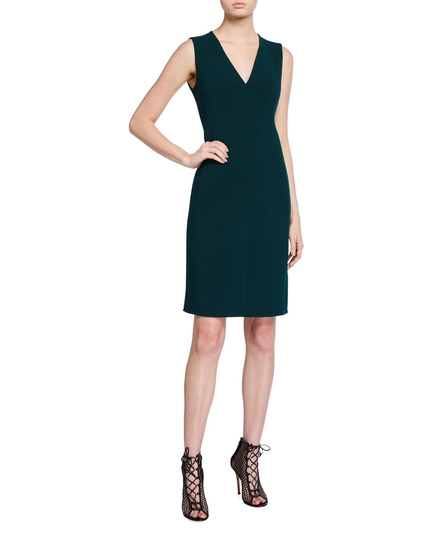 Wool Crepe Sleeveless Cocktail Dress