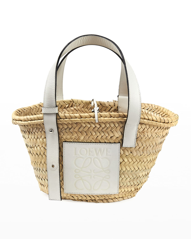 Basket Small Woven Palm Tote Bag