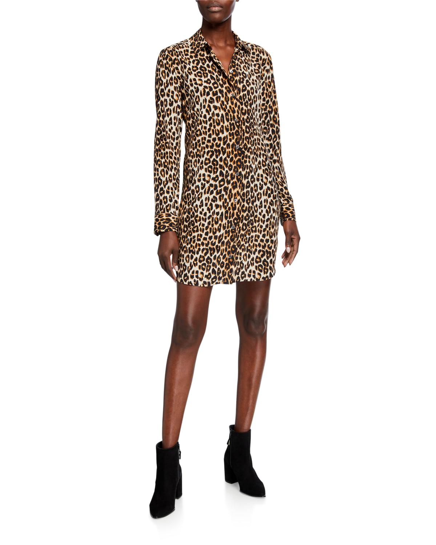 Essential Cheetah-Print Long-Sleeve Silk Dress