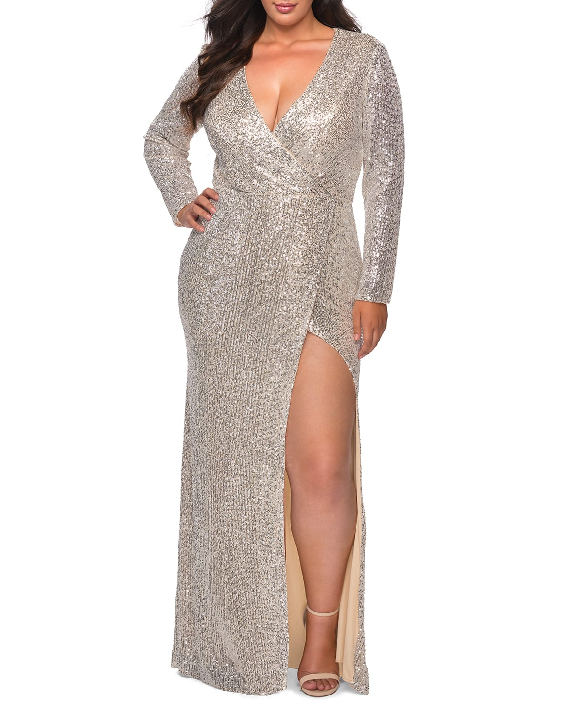 Plus Size Sequin V-Neck Long-Sleeve Gown with Slit