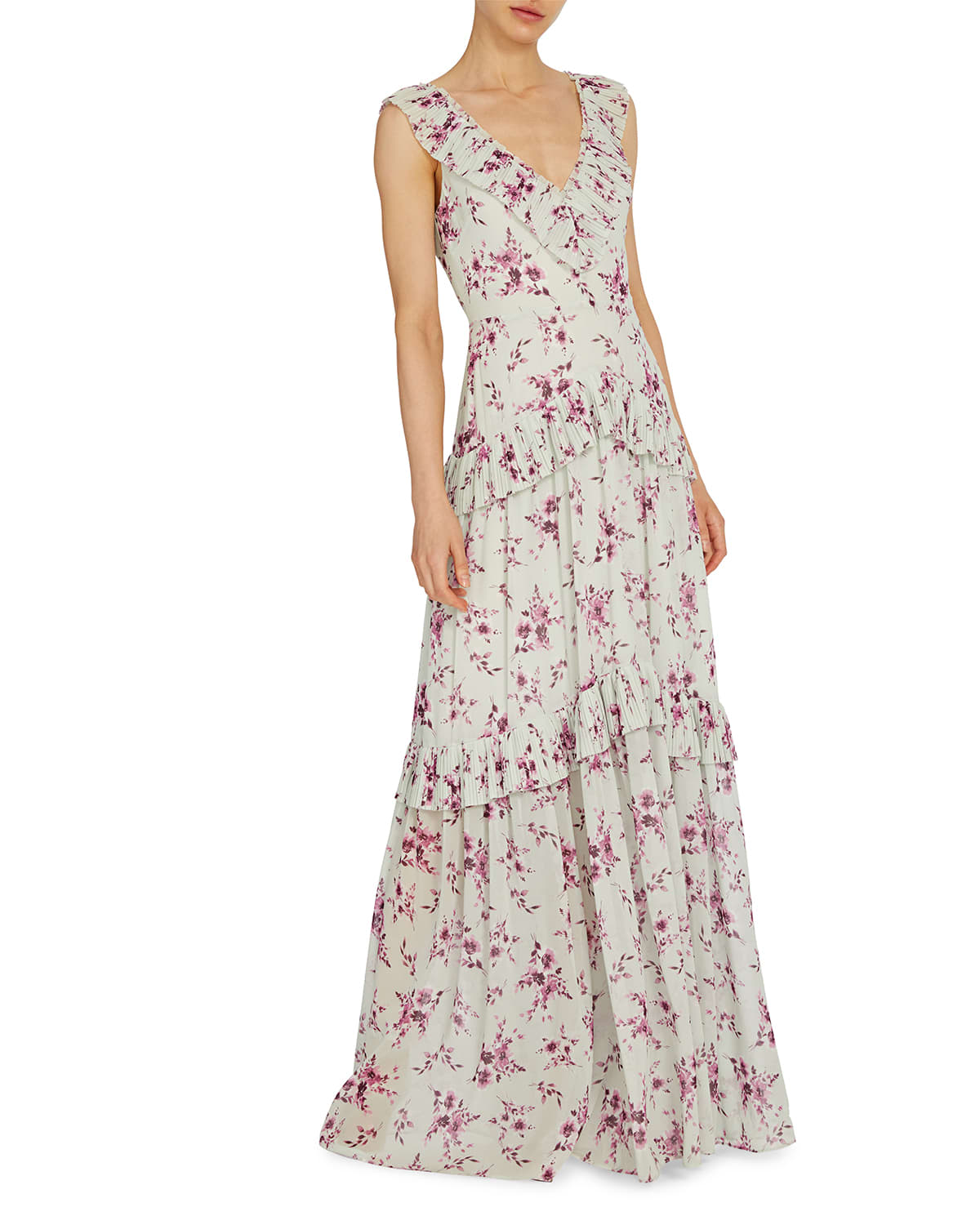 Floral Print V-Neck Tiered Ruffle Gown