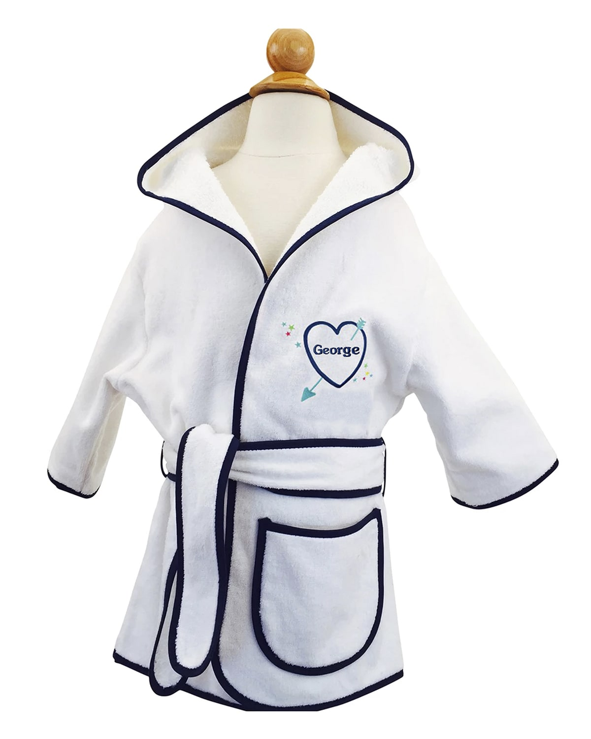 Kid's Terry Heart Hooded Cover-Up Robe