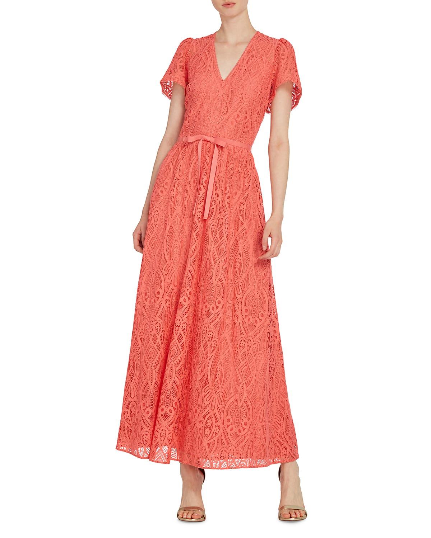 V-Neck Short-Sleeve Midi Lace Dress