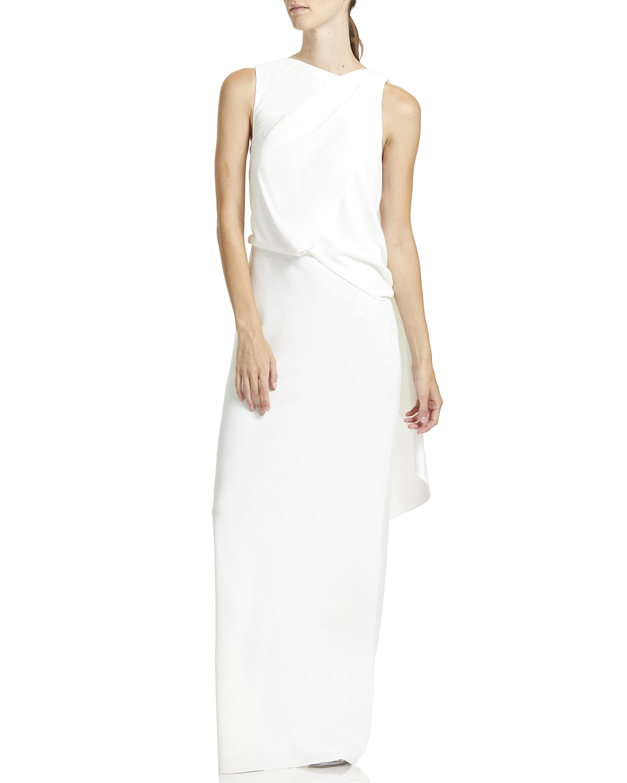 Sleeveless Asymmetric Draped Gown