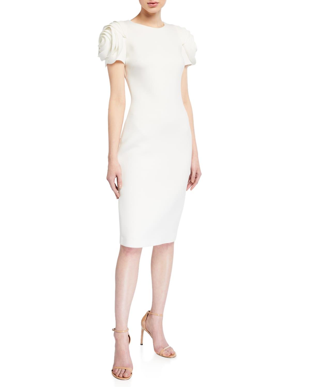 Rosette-Sleeve Sheath Dress