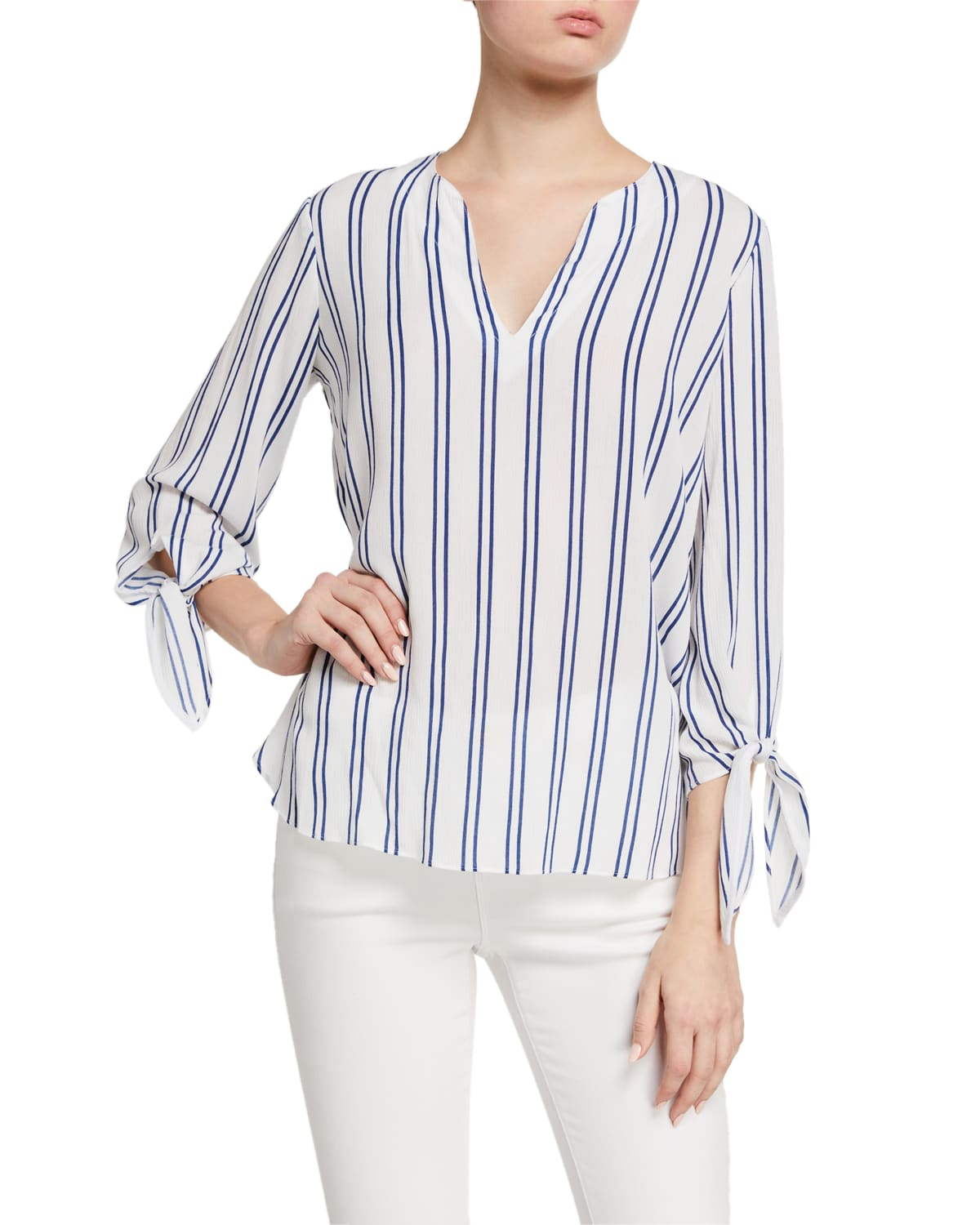 Striped Tie-Sleeve Woven Blouse