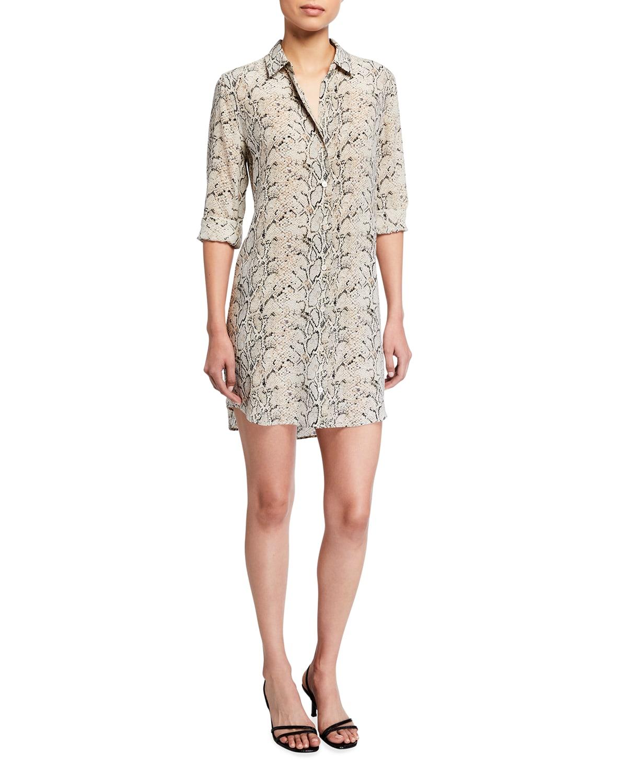 Essential Snake-Print Long-Sleeve Shirt Dress