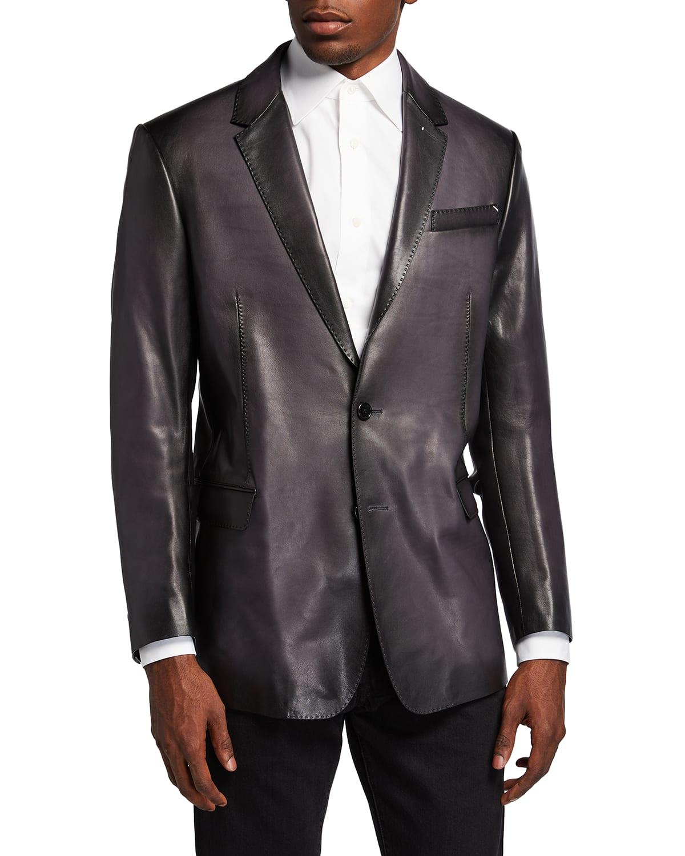 Men's Calfskin Leather Blazer