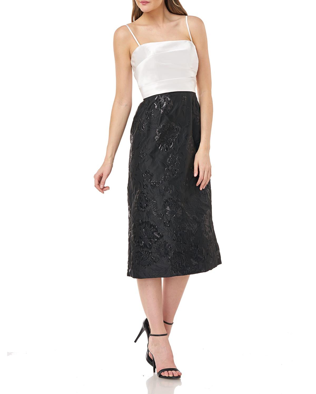 Two-Tone Folded Mikado Dress w/ Jacquard Tea-Length Skirt