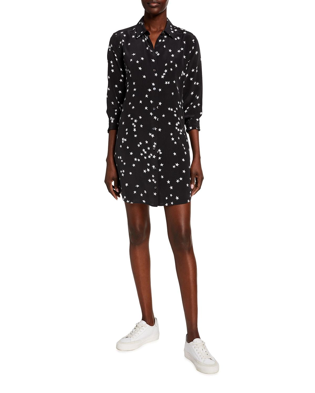 Essential Star Print Silk Dress
