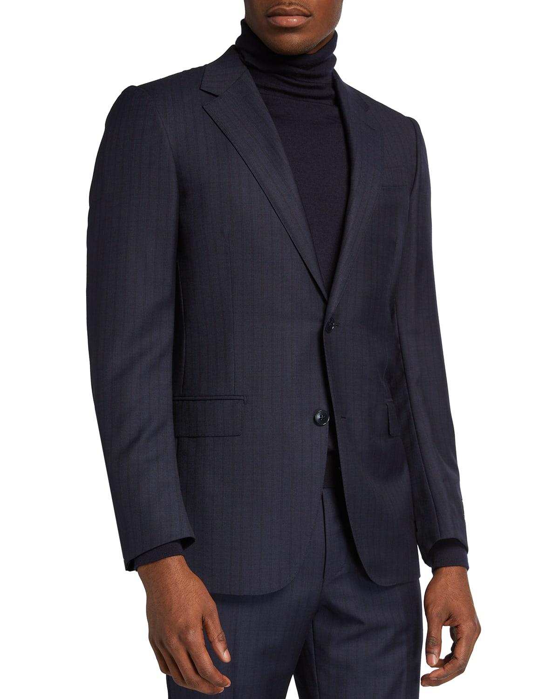 Men's Wool Tonal Double-Stripe Two-Piece Suit