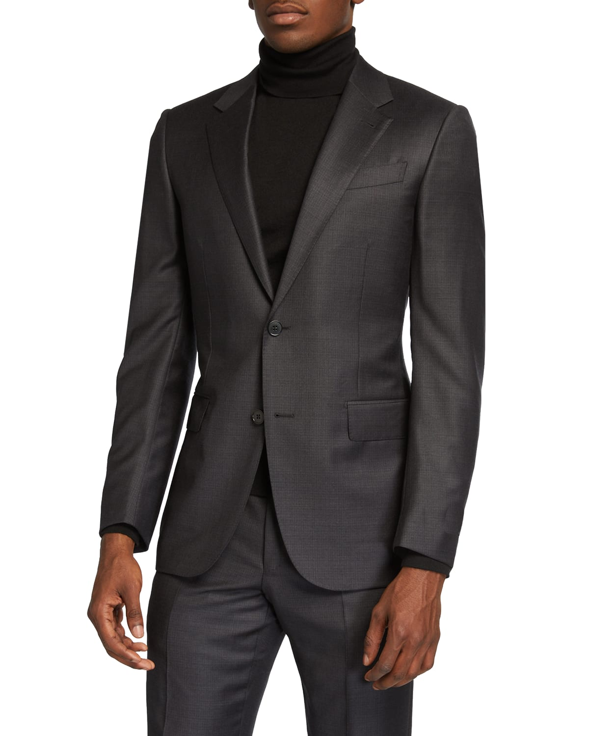 Men's Wool Box-Check Two-Piece Suit