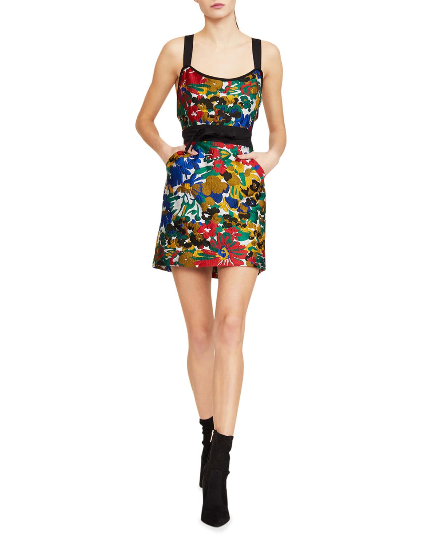 Mackenzie Garden Print Mock-Neck Short Dress