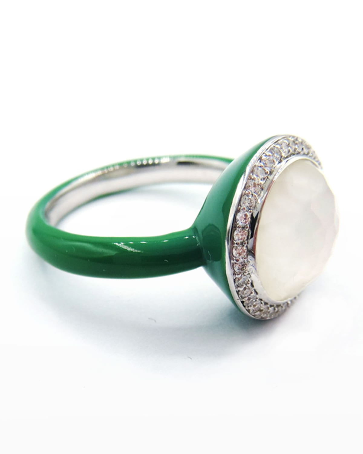 Lollipop Carnevale Ring in Sterling Silver with Mother-of-Pearl Doublets and Ceramic