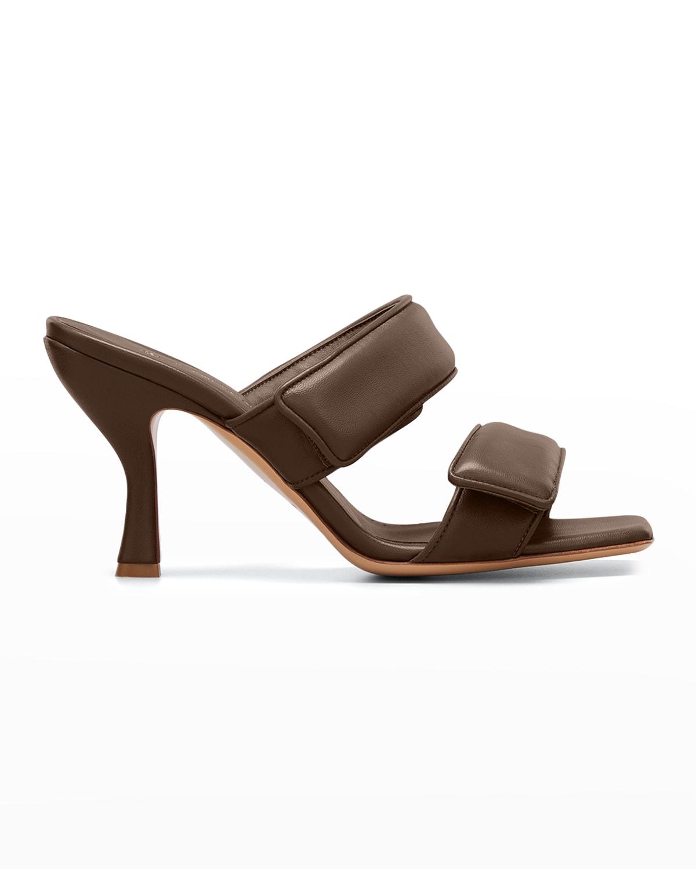 Perni Two-Band Puffy Slide High-Heel Sandals
