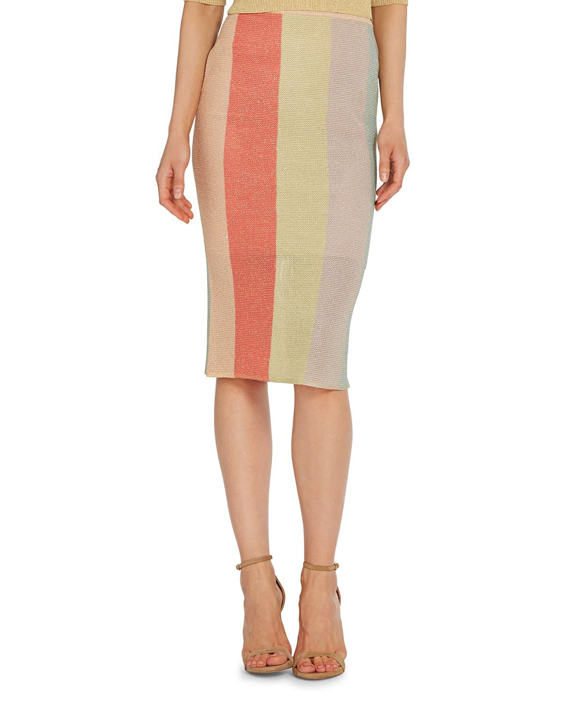 Colorblock Knit Midi Skirt