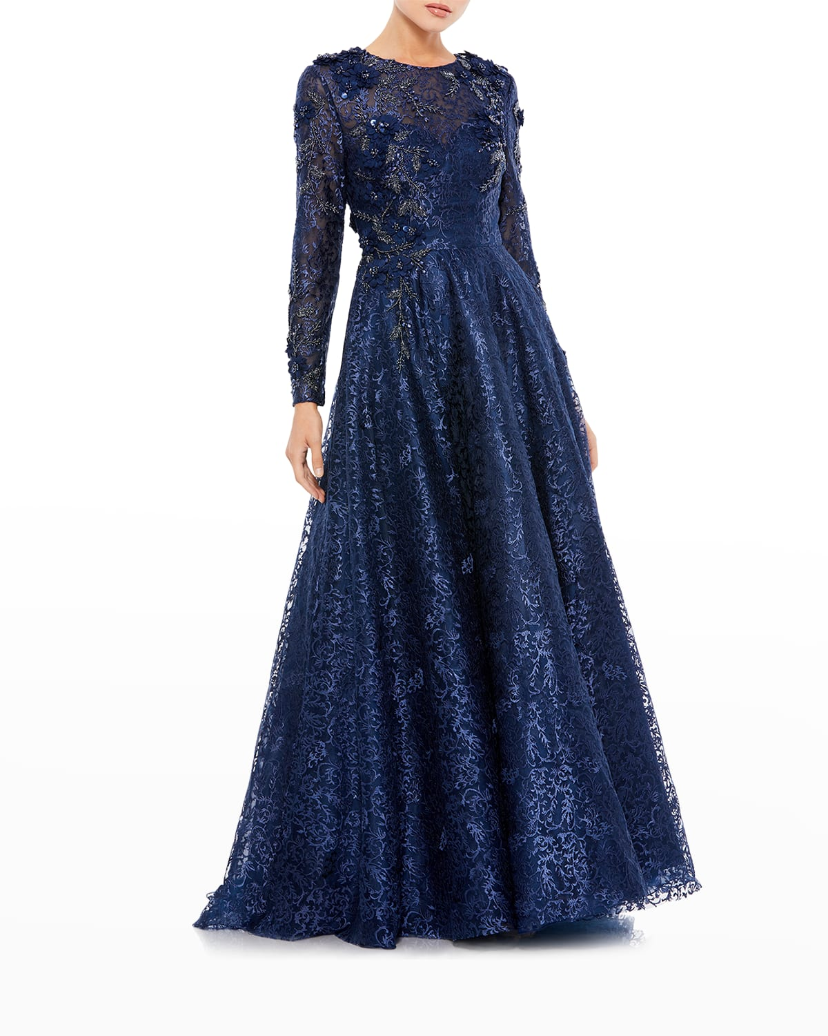 Embellished Long-Sleeve Floral Lace A-Line Gown