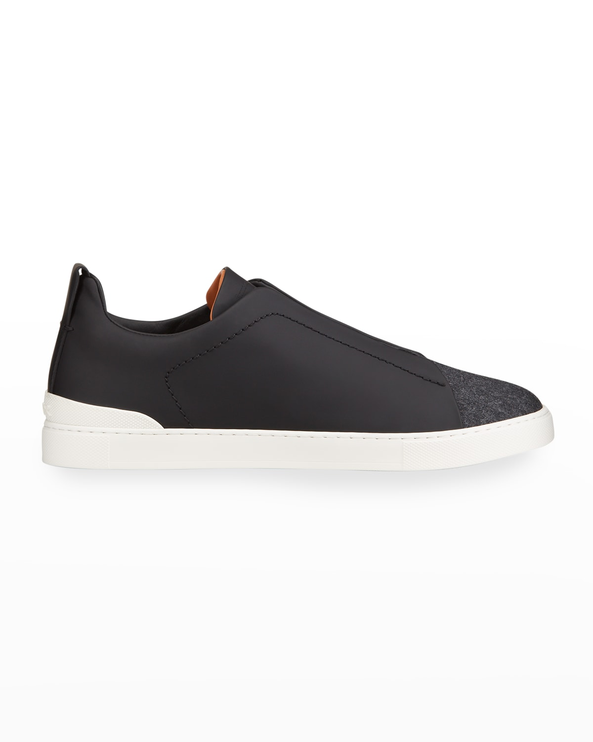 Men's Triple-Stitch Leather & Flannel Low-Top Sneakers