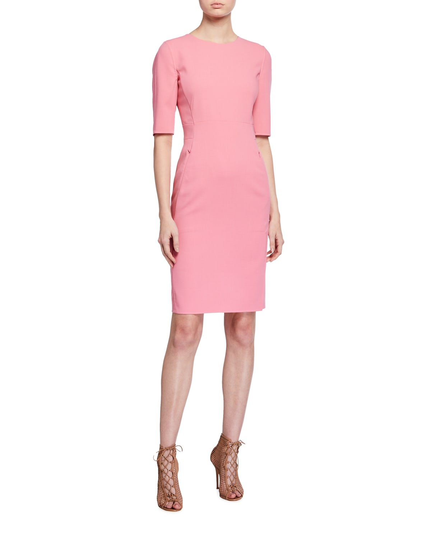 Short-Sleeve Wool Sheath Dress