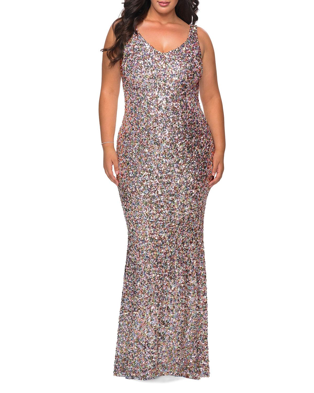 Plus Size V-Neck Sequin Column Gown
